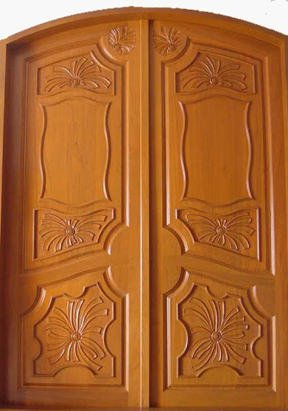 Latest kerala model wooden double doors designs gallery for Double door wooden door