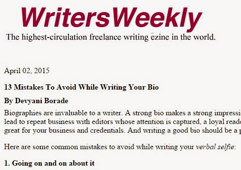 Verbolatry - Devyani Borade - 13 Mistakes to avoid while writing your bio - Writers Weekly