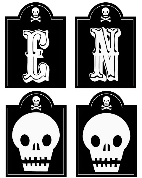 Printable Halloween Skull Banner @ Blissful Roots