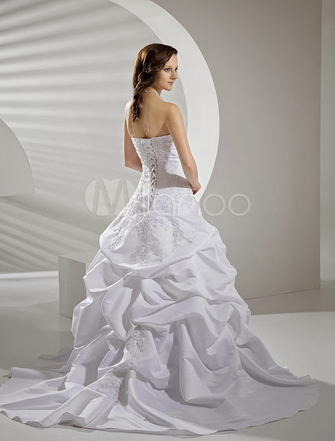 Applique Satin Taffeta Lace Wedding Dress