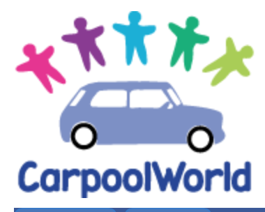 image Carpool World logo Blue car with five people icons above it