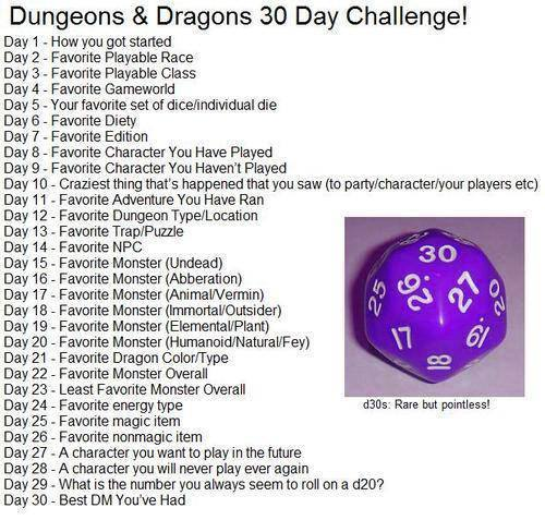 30 Day Blog Challenge Topics 30 Day D&d Challenge