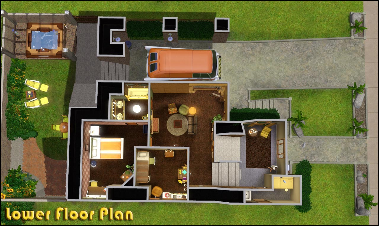 My sims 3 blog retro realty 39 70s modern family home by for Modern family house floor plan