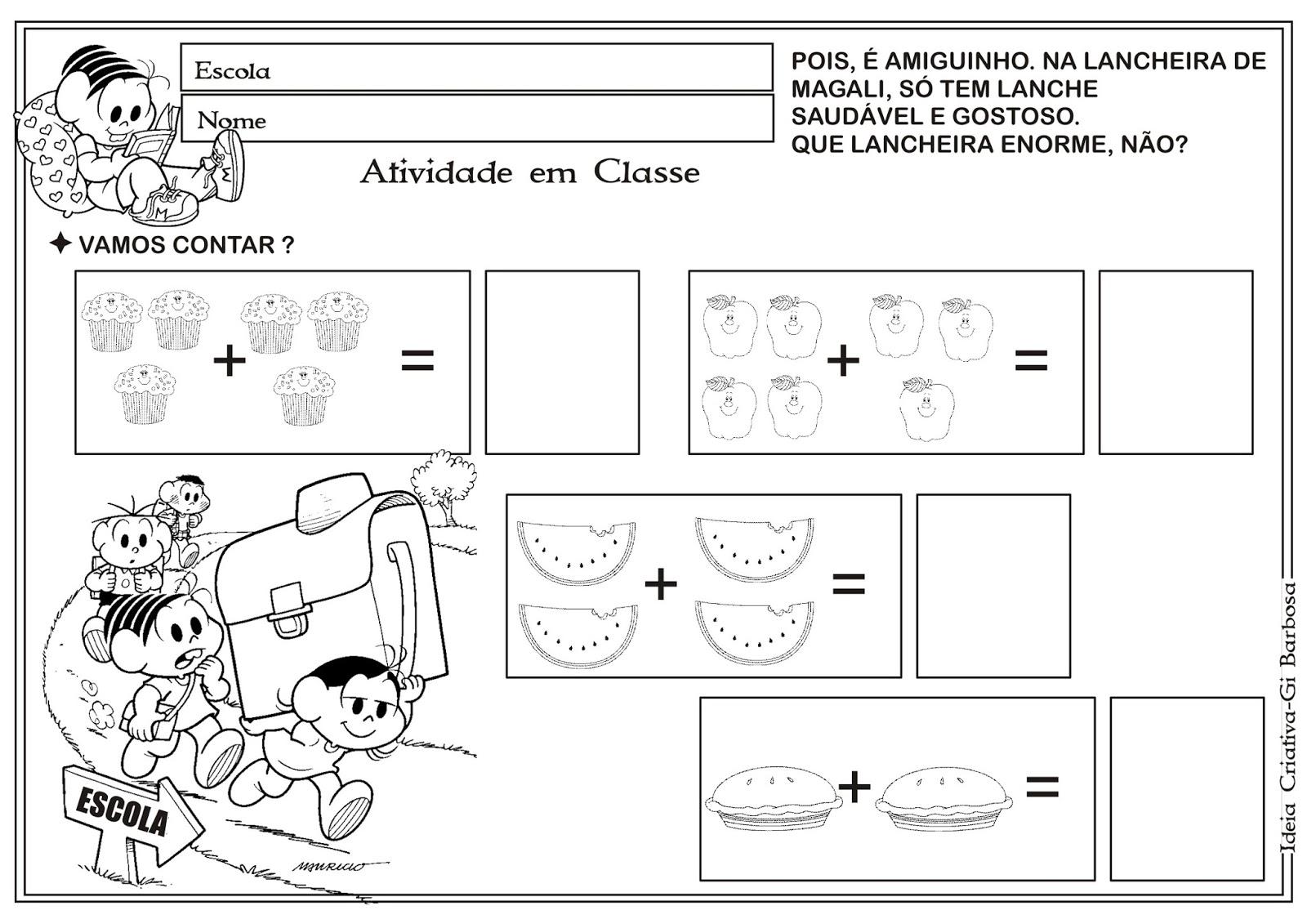 Suficiente Atividade Matemática Volta às Aulas Turma da Mônica | Ideia  VA22