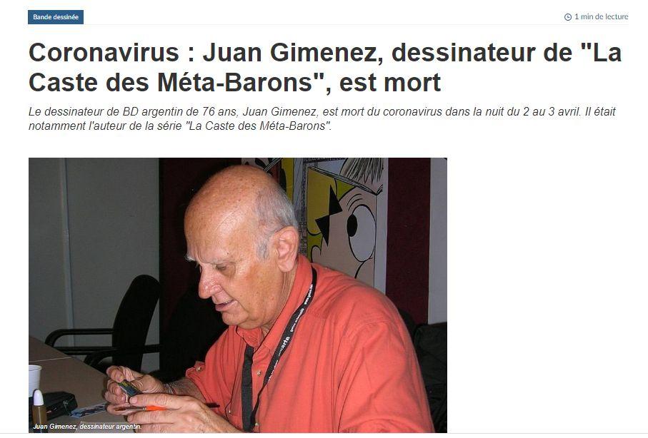 Décès de Juan Giménez : les Méta-Barons perdent leur créateur