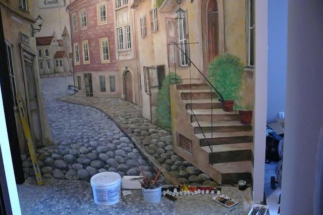Malarstwo iluzjonistyczne, aranżacja przedpokoju, malarstwo ścienne, Toruń