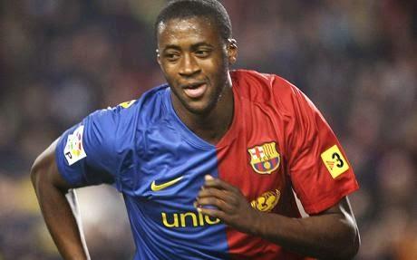 Yayá Touré jugador del Manchester City durante su época en el FC Barcelona