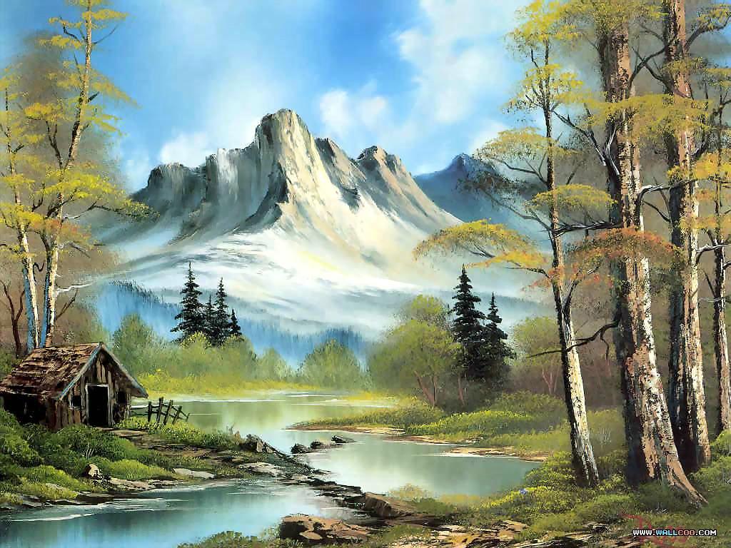 Este paisaje es una Pintura de Bob Ross