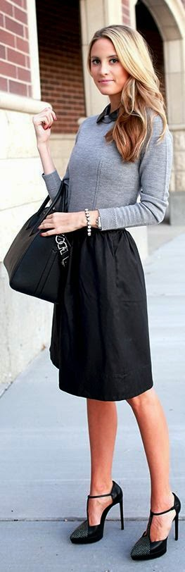 Black Skirt With Gray Sleeve & Black Bag & Shoes
