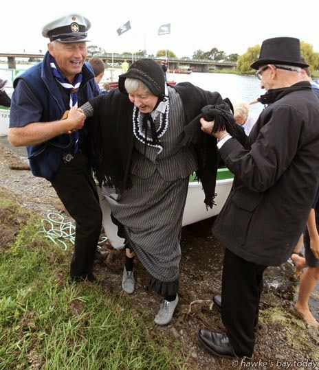 L-R: Albert Finnema, Westshore Sea Scouts; Jeannie Wright, Bill Lowes, members of Hawke's Bay Geneology Society dressed as settlers, at the Waitangi Family Festival, Farndon Park, Clive. photograph
