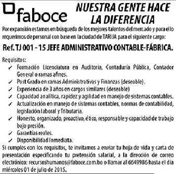 Faboce precisa Jefe Administrativo Contable-Fábrica