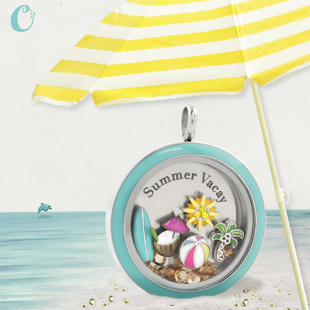 Origami Owl Inscriptions Summer Vacay Living Locket available at StoriedCharms.com