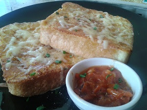 Cheesy french toast with cheats tomato relish