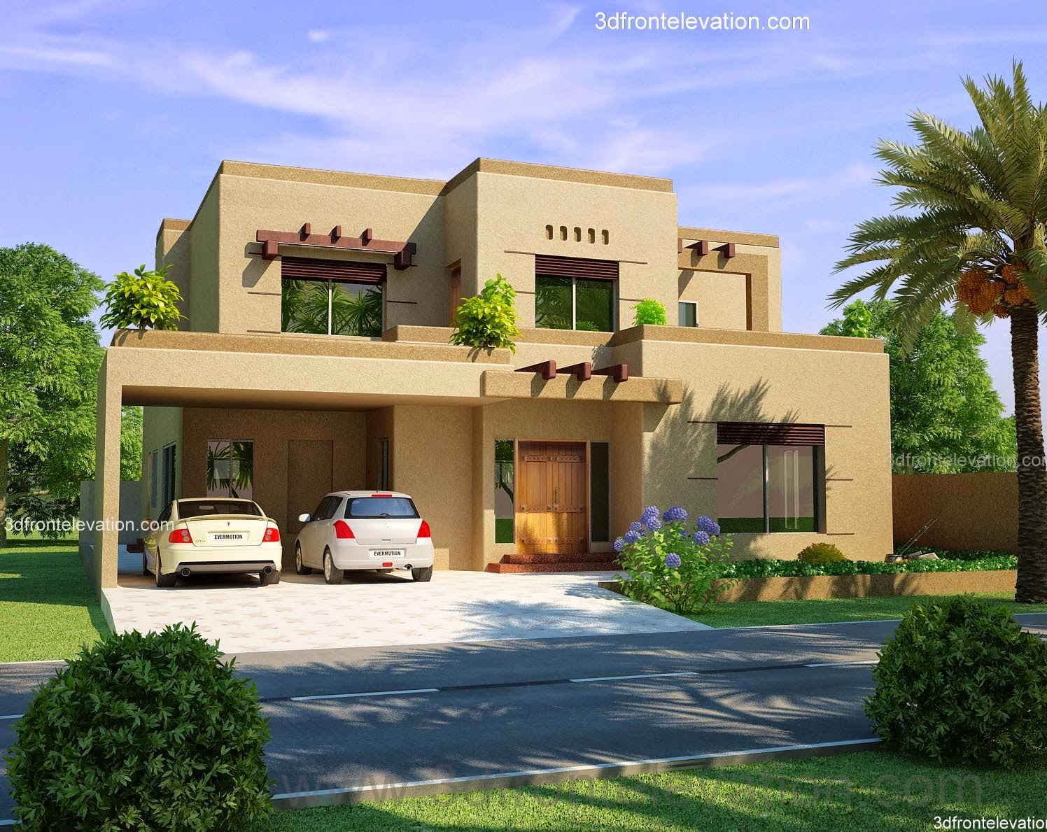 3d front beautiful house design 3d view 2 for Pakistani new home designs exterior views