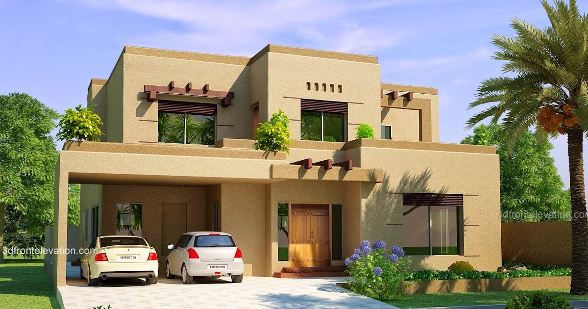3D Front Elevationcom Mudy Clay House 10 Marla