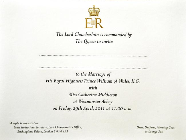 royal wedding invitation image. royal wedding invitation 2011.
