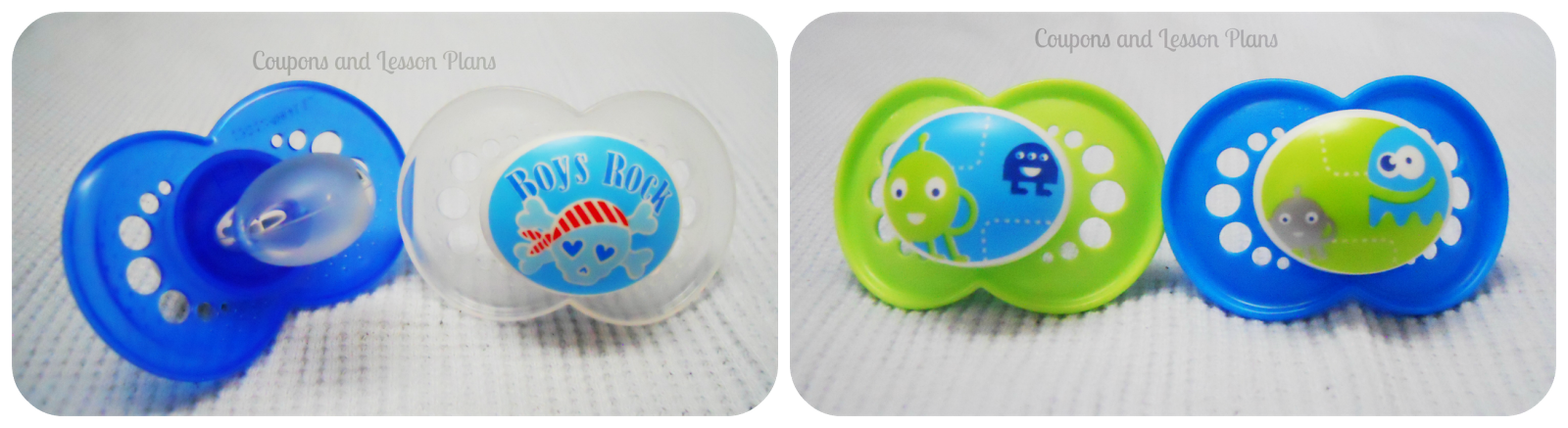 pictured are cute pacifier designs from MAM