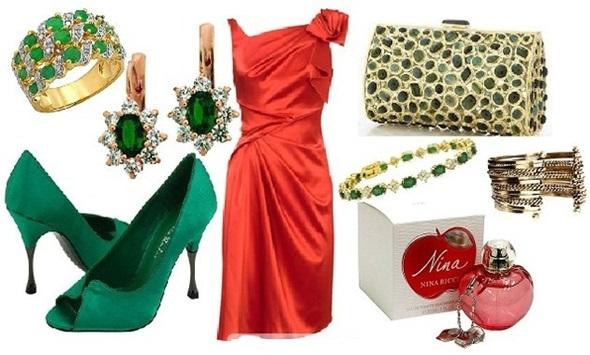 Зеленое платье и красные аксессуары