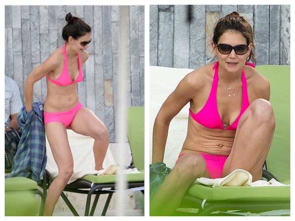 Katie Holmes Is Really Hot in Pink Bikini and Her Cat Eye Glasses