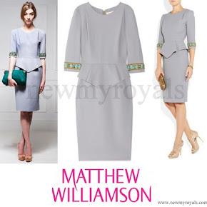 Kate Middleton Style Matthew Williamson embellished wool crepe peplum dress