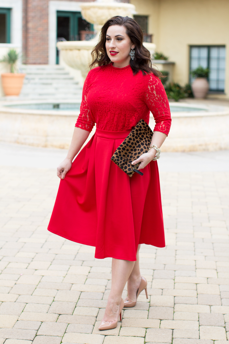 red lace shirt, red skirt, christian louboutin pumps