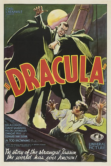 classic posters, free download, graphic design, movies, retro prints, theater, vintage, vintage posters, horror movie, Dracula, by Carl Laemmle - Vintage Horror Movie Poster