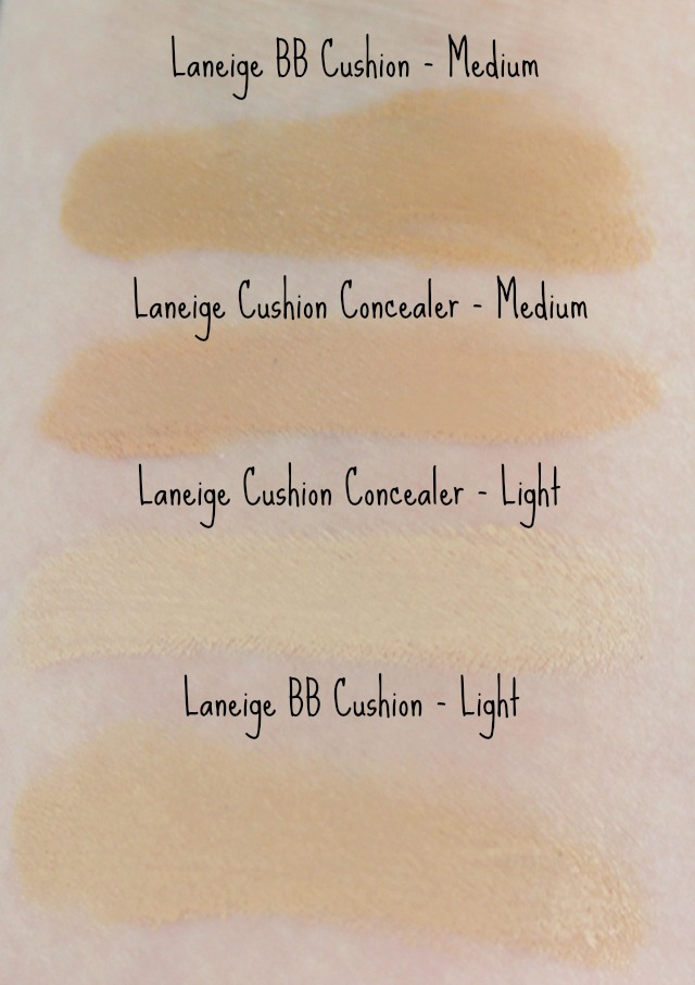 Laneige Cushion Concealer BB Target light medium swatch swatches BB cushion comparison