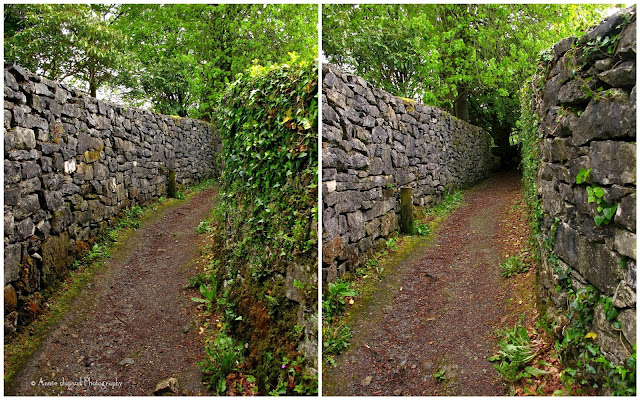 a path between stone walls, The Waterfall Walk