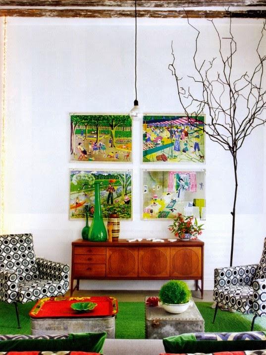 Mélange éclectique de mobilier danois 60, de meubles en osier, d ...