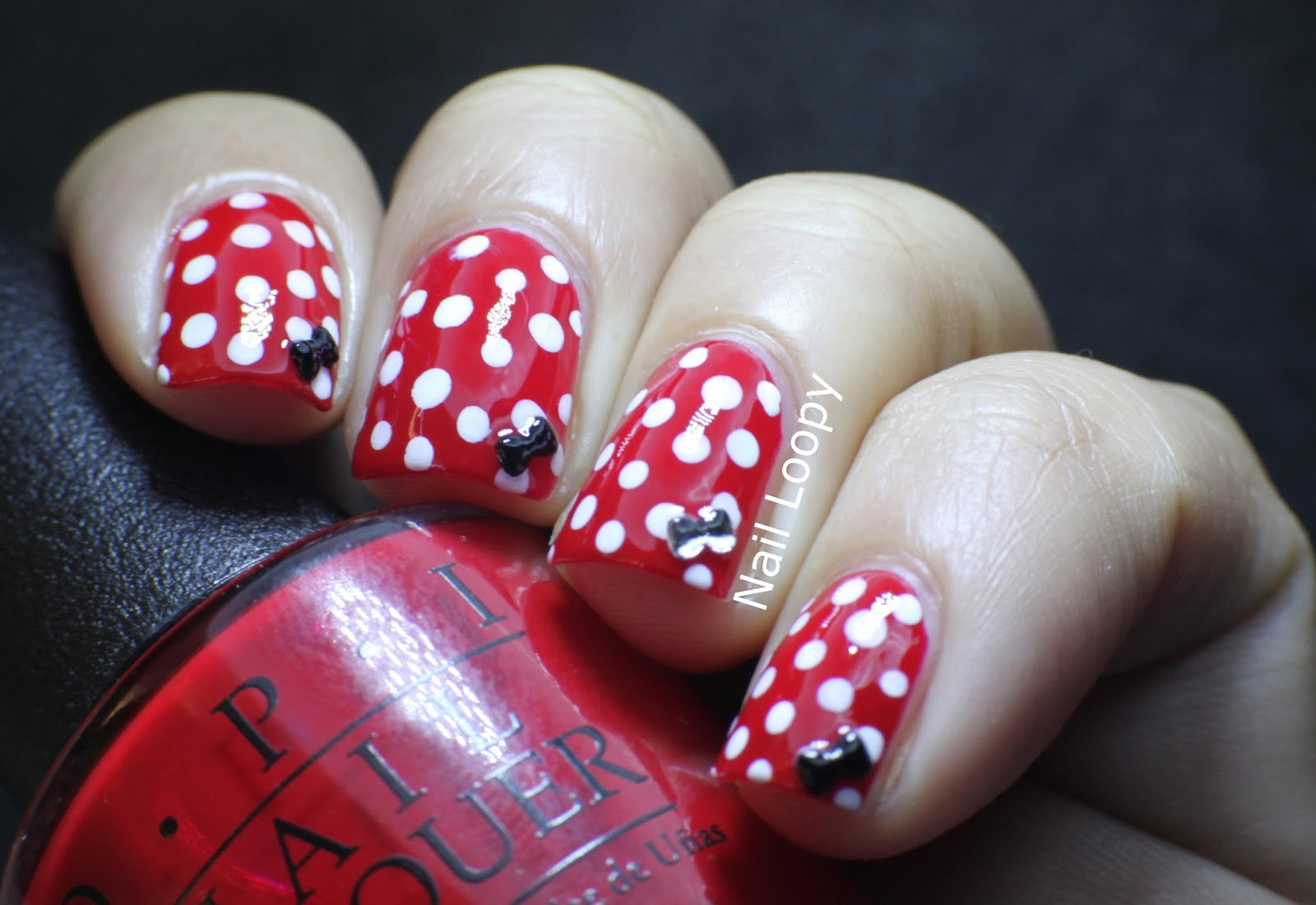 Nail Loopy Minnie Mouse Nails With Bow Studs