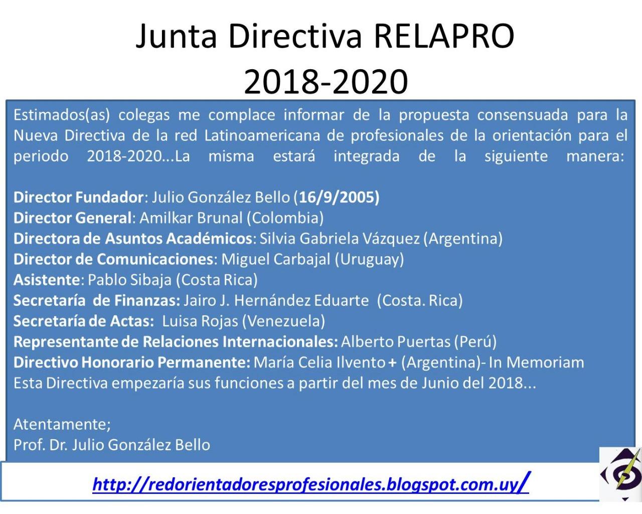 Junta Directiva RELAPRO
