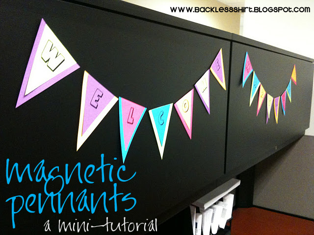 backless shirt a welcome banner from office supplies a mini tutorial. Black Bedroom Furniture Sets. Home Design Ideas