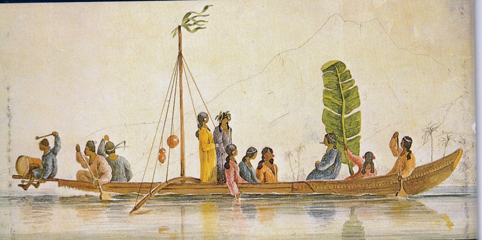 sewn canoe, Society Islands