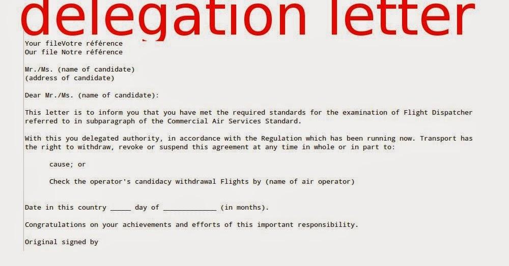 delegation letter sample samples business letters – Delegation Letter