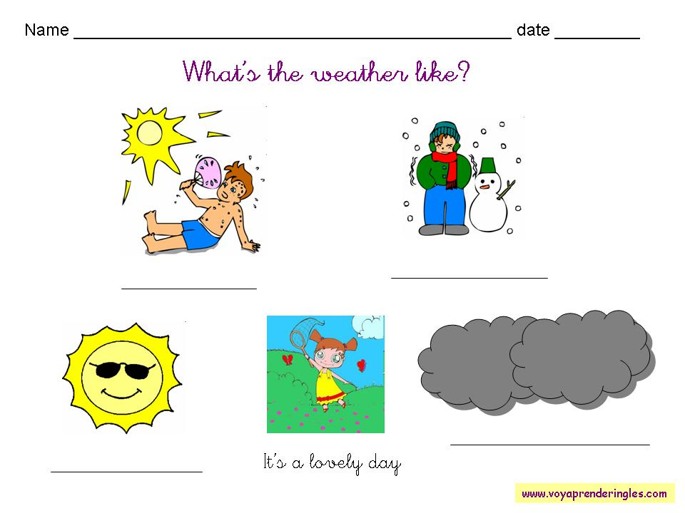 Cards for children in english weather