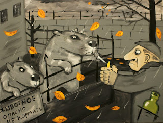 Man in grey coat lightening cigarette for capybara, cell, plate description don't feed animals, funny pictures