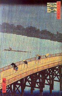 japanese woodblockprint artist Hiroshige Evening shower at Atake and the great bridge