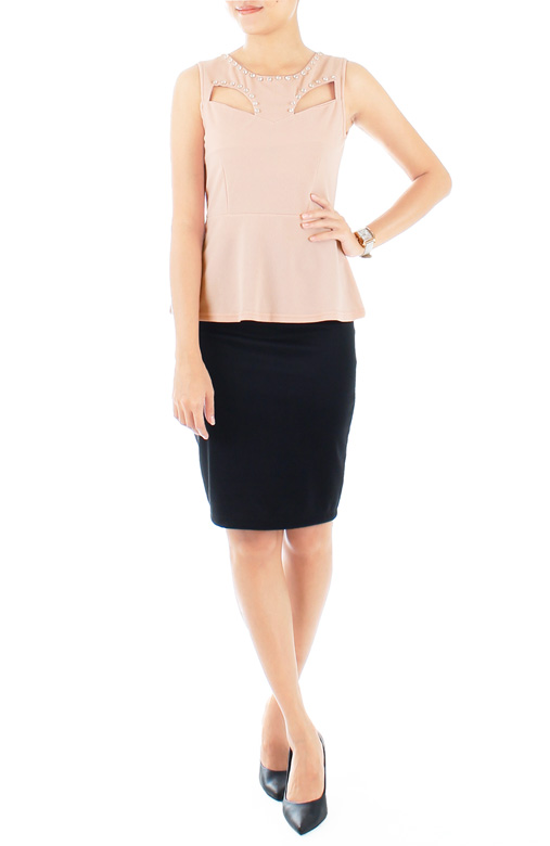 Diamonds Are Forever Peplum Blouse – Pastel Pink