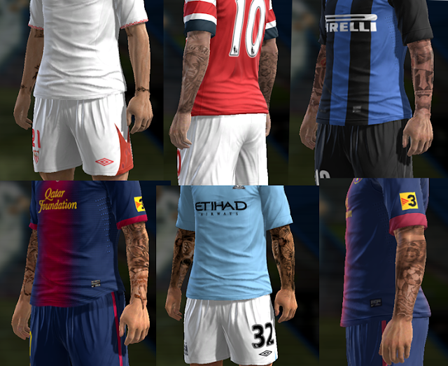 Pack de Tattoos v1 - PES 2013