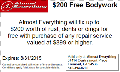 Coupon $200 Free Bodywork Discount August 2015