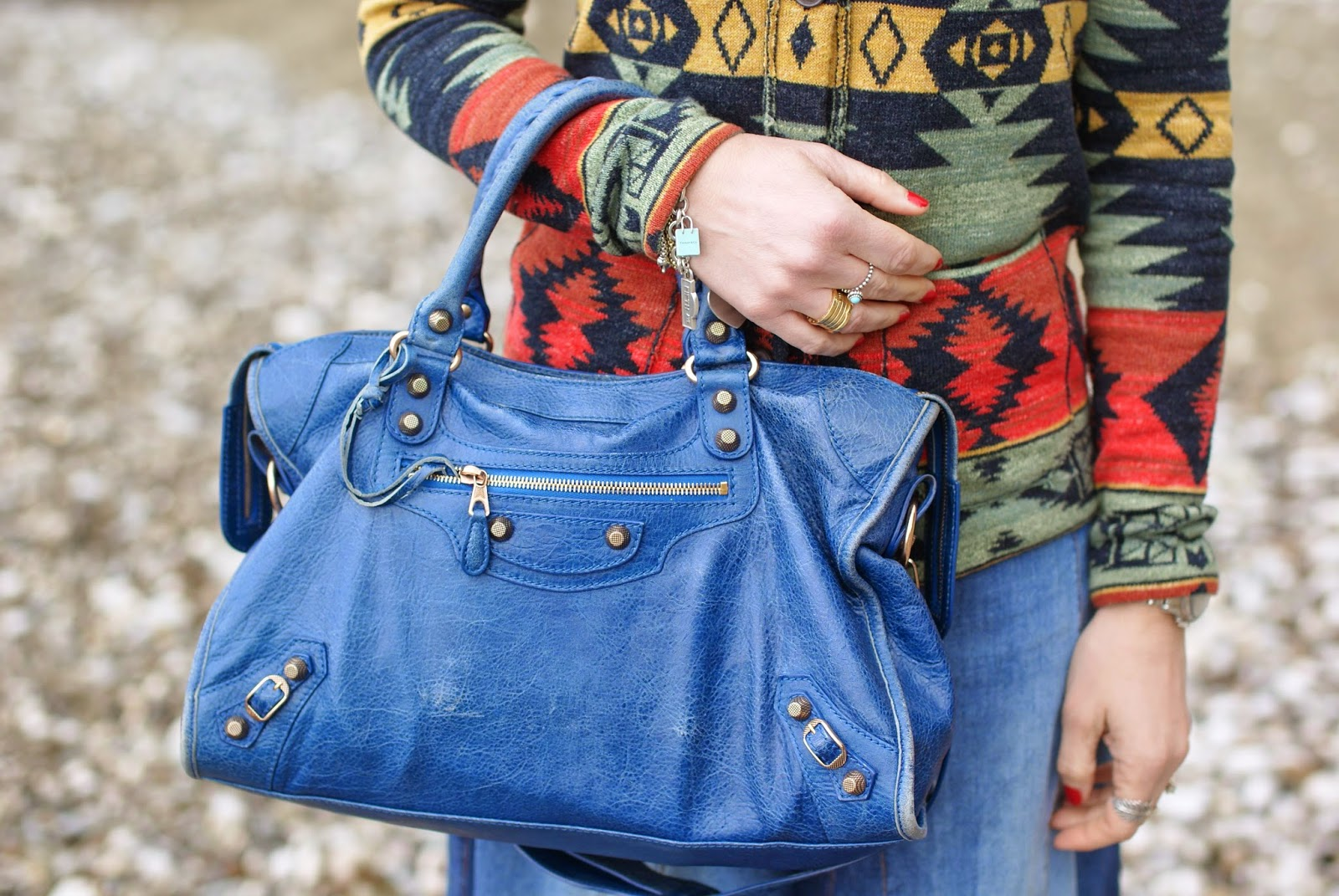 Balenciaga City bag, Balenciaga cobalt blue bag, Fashion and Cookies, fashion blogger