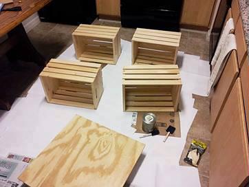 Mesa de centro con 4 cajas de fruta - Cajones de fruta de madera ...