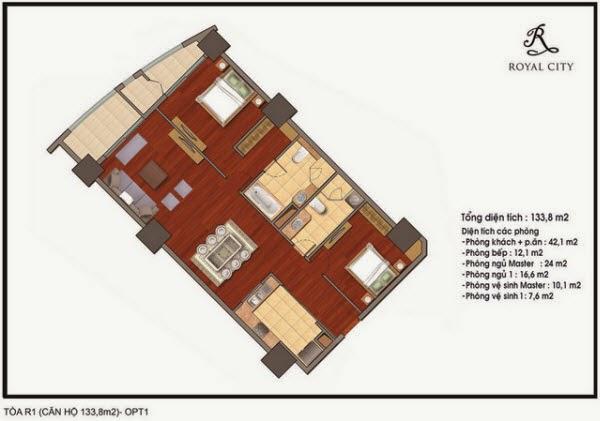 Chi tiết thiết kế căn hộ toà R1 chung cư Royal City diện tích 133.8 m2