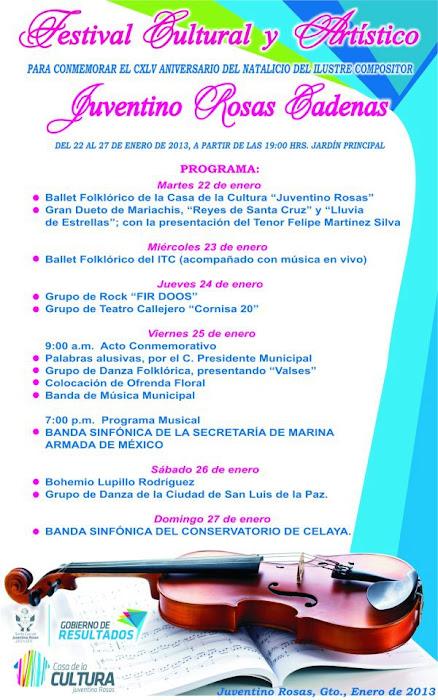 Programa Conmemorativo por el 145 Aniversario de Juventino Rosas