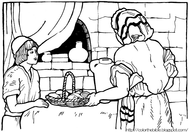 two fish and five loaves of bread coloring page - loaves and fishes color the bible