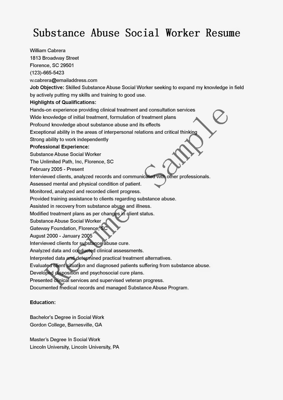 resume samples  substance abuse social worker resume sample