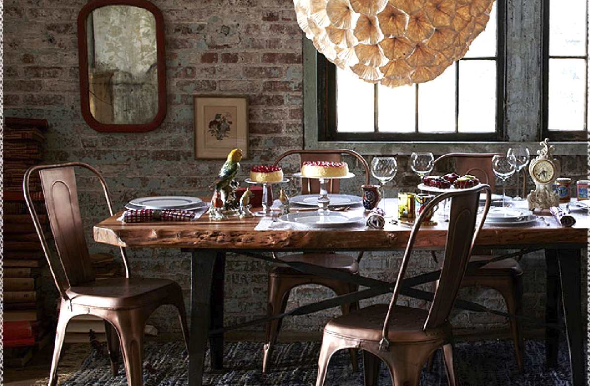 Loving pretty much everything about this dining room- especially the  Redsmith copper chairs. - Hum: Copper Love/ Anthropologie