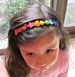 novelty button rainbow headband
