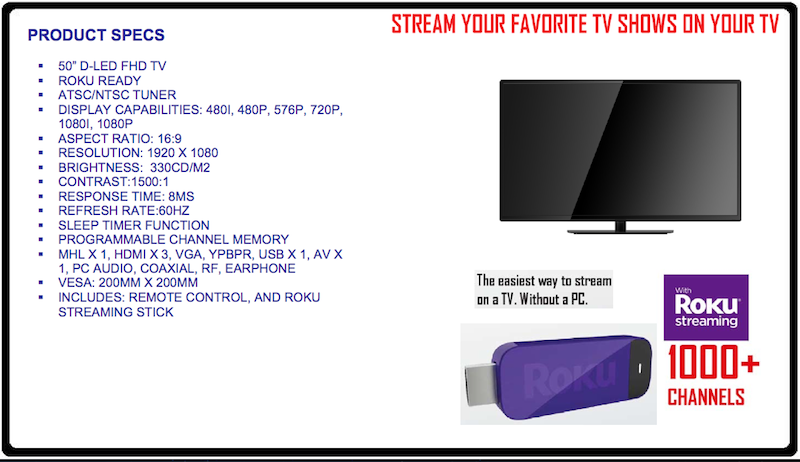Proscan Roku MHL Streaming Stick