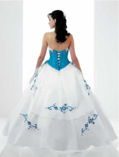 Vestido de 15 Blanco y Turquesa Largo : 15 Años - Vestidos de 15 ...